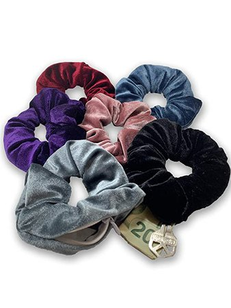 Amazon.com : Scrunchie Stash (Steel Blue)- Hidden Pocket Premium Velvet Scrunchy with secret zipper - soft scrunchies and hair tie for women and girls accessory hair bands : Beauty