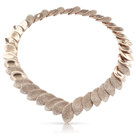 18k Rose Gold Aleluia' Necklace with White and Champagne Diamonds, Pasquale Bruni
