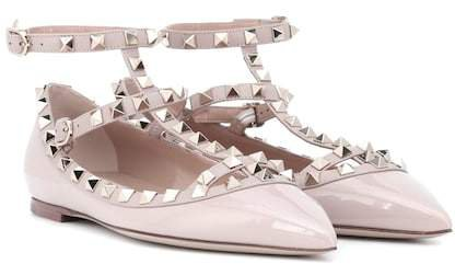 Rockstud patent leather ballet flats