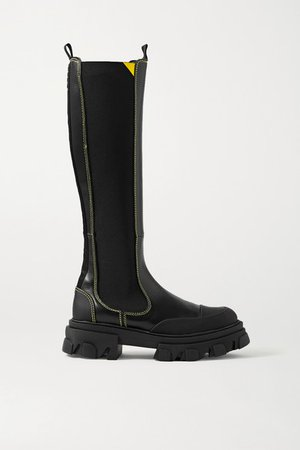 Rubber-trimmed Leather Chelsea Knee Boots - Black