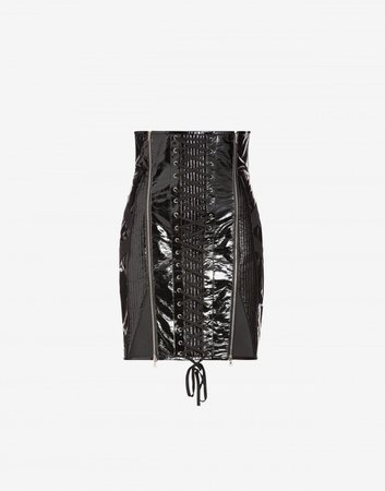 Patent leather skirt with corset details - Skirts - Clothing - Women - Moschino