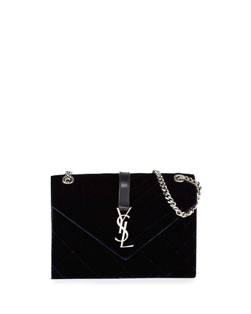 Saint Laurent V Flap Monogram YSL Medium Tri-Quilt Velvet Shoulder Bag | Neiman Marcus