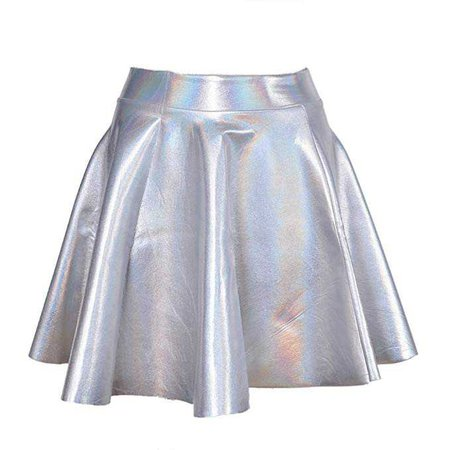 Lychee Holographic Hologram Shiny Metallic Silver Flared Pleated Skater Skirt Dress at Amazon Women's Clothing store: