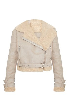 Beige Cropped Aviator Jacket | PrettyLittleThing