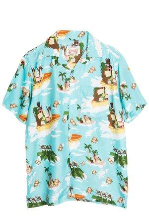 Blue Boat Santa Hawaiian Shirt - Ragstock