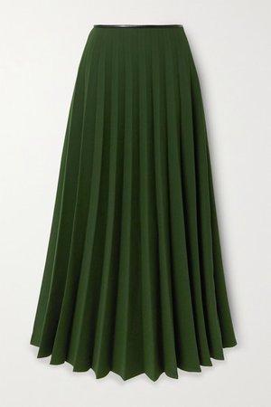Pleated Crepe Skirt - Dark green