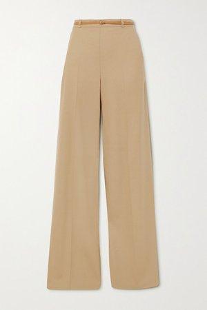 Belted Twill Wide-leg Pants - Beige