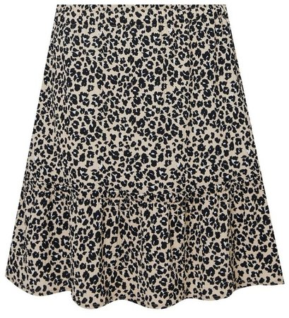 Cream Animal Print Crepe Mini Skirt