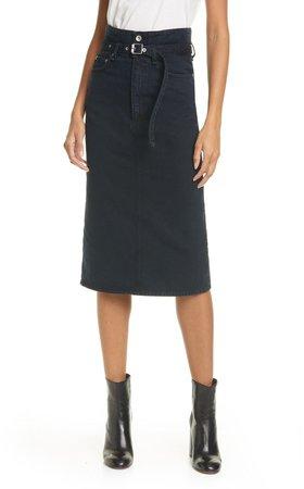 Paperbag Waist Denim Midi Skirt