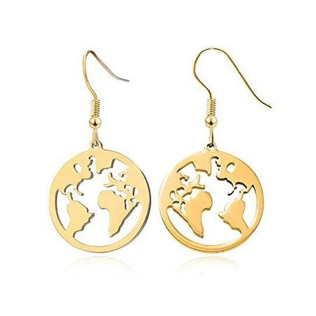 Earth Outline Earrings - Boogzel Apparel