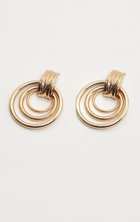 Gold Multi Hoop Door Knocker Earring | PrettyLittleThing