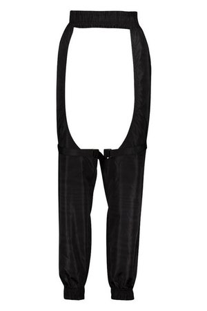 Buckle Strap Detail Cut Out Chap Trousers   Boohoo