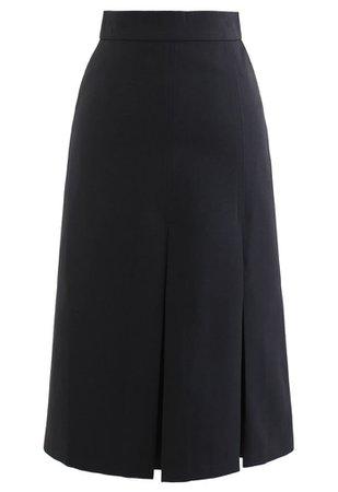 Pleated Hem Split Midi Skirt in Black - Retro, Indie and Unique Fashion