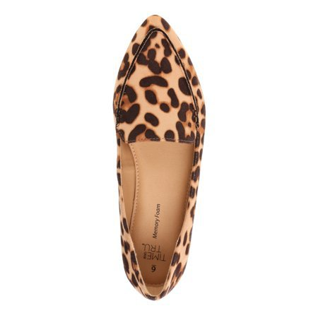 Time and Tru - Women's Time and Tru Animal Print Feather Flat - Walmart.com - Walmart.com brown