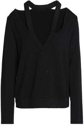 Spin Off Crystal-embellished Cutout Stretch-modal Fleece Sweatshirt