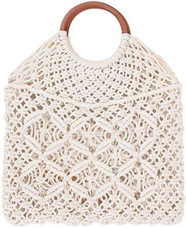 Ayliss Handmade Straw Bag Travel Beach Fishing Net Handbag Shopping Woven Shoulder Bag for Women(White#)