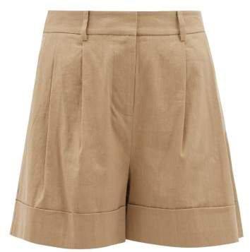 Shiana Turned Up Cuff Linen Blend Shorts - Womens - Beige