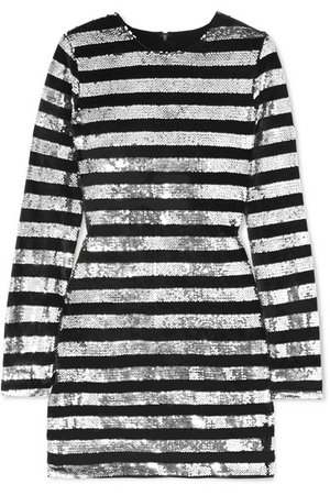 RtA | Crystal striped sequined velvet mini dress | NET-A-PORTER.COM