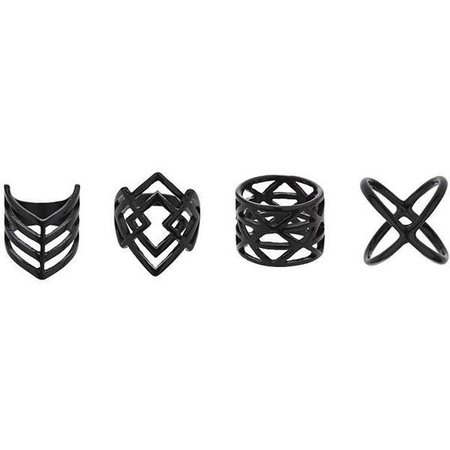 TopShop Black Geometric Rings