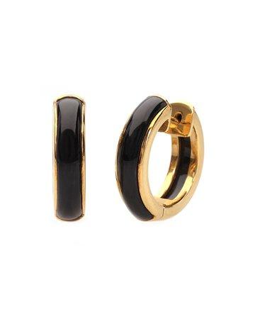 David C.A. Lin 18k Yellow Gold Black Jade Hoop Earrings