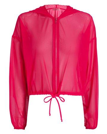 Lanston Hooded Mesh Zip-Up Sweatshirt | INTERMIX®
