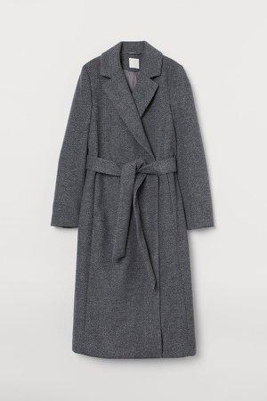 Tie Belt Coat - Gray