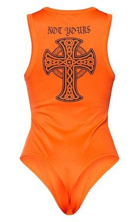 Orange Promises Gothic Front Back Bodysuit | PrettyLittleThing USA