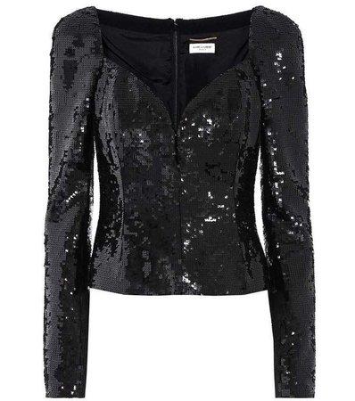 Saint Laurent Sequin-Embellished Top in Black