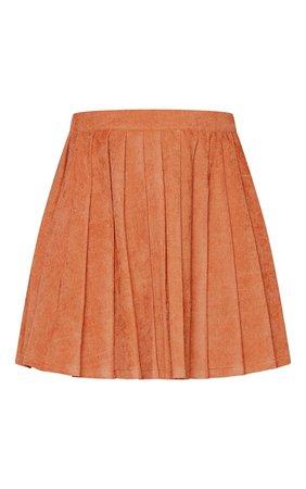 Rust Cord Pleated Skater Skirt | Skirts | PrettyLittleThing USA