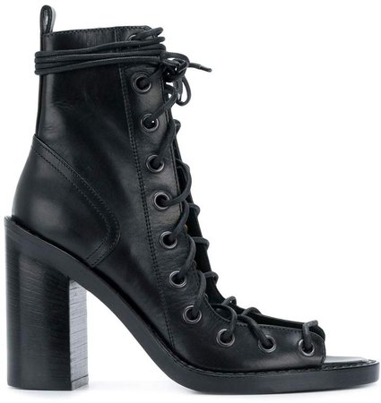 Open Lace-Up Ankle Boots