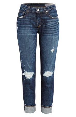 rag & bone The Dre Ripped Slim Boyfriend Jeans (Harper) blue
