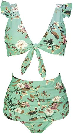 Amazon.com: COCOSHIP Women's Retro Floral High Waisted Shirred Bikini Set Tie Front Closure Top Ruffle Swimsuit(FBA): Clothing