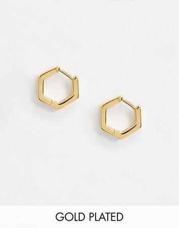 Orelia gold hexagon huggie hoop earrings in gold plate | ASOS