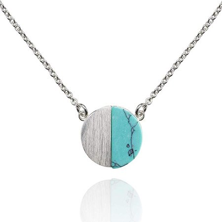 Amazon.com: Namana Disc Pendant Necklace. Brushed Finish Geometric Necklace with a Created Blue Turquoise or White Agate. 14ct Gold Plated or Silver Coloured Pendant Necklace for Women: Jewelry