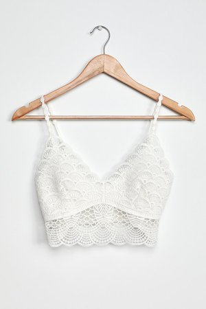 Free People Sunrise to Sunset Bra - Ivory Crochet Lace Bralette