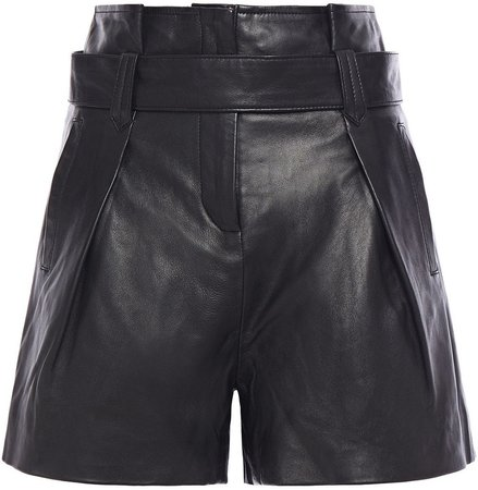 Muubaa Donan Belted Pleated Leather Shorts