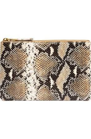 Madewell Snake Embossed Leather Pouch Clutch | Nordstrom