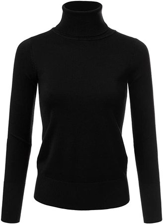 JJ Perfection Women's Stretch Knit Turtle Neck Long Sleeve Pullover Sweater Black XL at Amazon Women's Clothing store