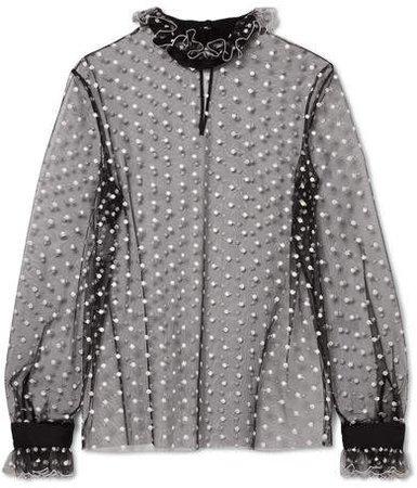 Ruffled Embroidered Metallic Polka-dot Tulle Blouse - Black