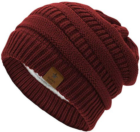 Durio Womens Knit Beanie Thick Solid Fleece Lined Winter Beanie Hats for Women Warm Slouchy Beanies Skiing Snowboarding Burgundy One Size at Amazon Women's Clothing store