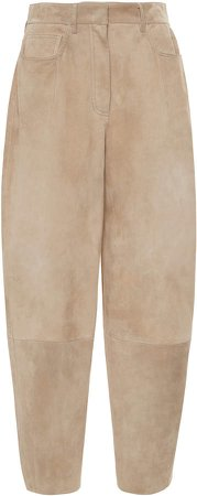 Agnona Suede Wide-Leg Pants