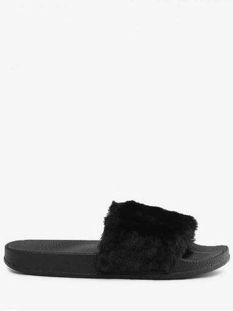 Faux Fur Open Toe Slippers BLACK: Flats 36 | ZAFUL