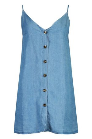 Denim Chambray Button Through Slip Dress | Boohoo