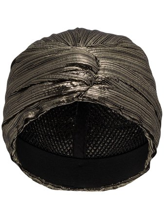 Saint Laurent Metallic-Effect Turban Hat 6215093YE Black | Farfetch