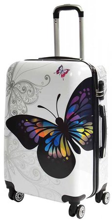 White Suitcase With Rainbow Butterfly