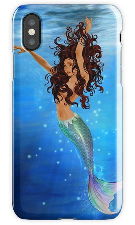 """Mermaid III - Brown Hair, Tan Skin, Hazel Eyes"" iPhone Cases & Covers by sampa2nyc 