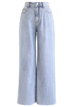 Light Blue Wide-Leg Jeans blue