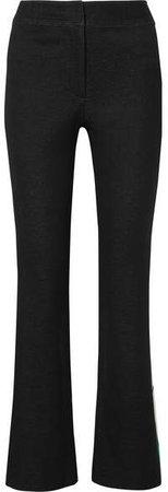 Striped Cotton-blend Jacquard Flared Pants - Black