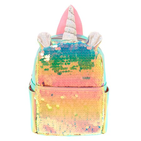 Holographic Sequin Unicorn Mini Backpack - Pink | Claire's