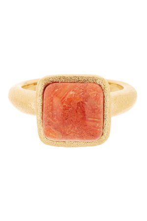 Orange Square Stone Ring